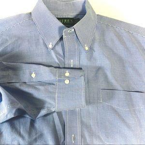Men's Classic 16.5 32/33 Gingham Blue Dress Shirt